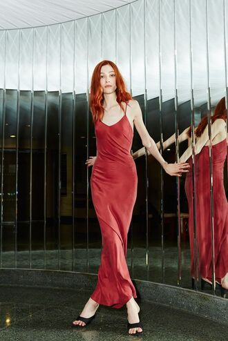 dress slip satin dress satin dress red dress maxi dress black dress slippers spaghetti straps dress
