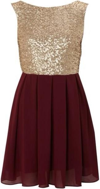 dress burgundy gold cute dress