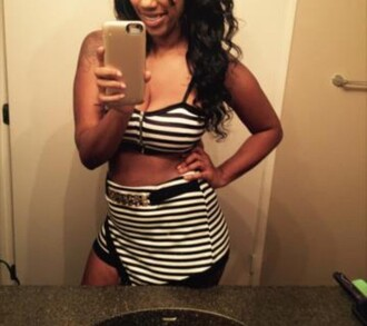 skirt top two-piece bustier style striped top striped skirt stripes skorts outfit crop tops bra bralette black and white