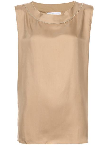 Fabiana Filippi blouse sleeveless women silk brown top