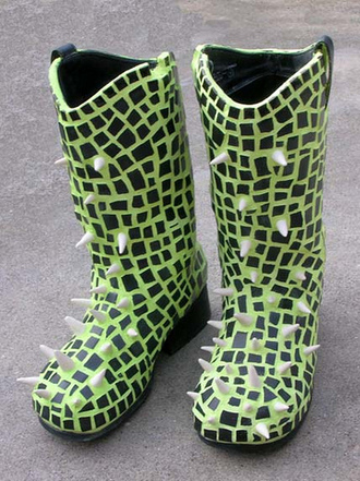 shoes spiked rain boots wellies green and black rain boots studded rain boots