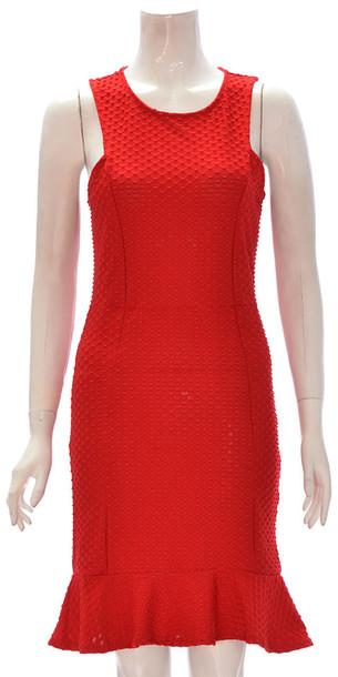 dress women sleeveless texture back zip midi peplum dress red