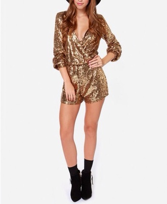 gold sequins style fashion girly outfit christmas gold romper jumpsuit shorts long sleeves elegant outfit cute