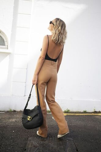 pants tumblr nude pants top open back backless black bodysuit bodysuit bag black bag sunglasses