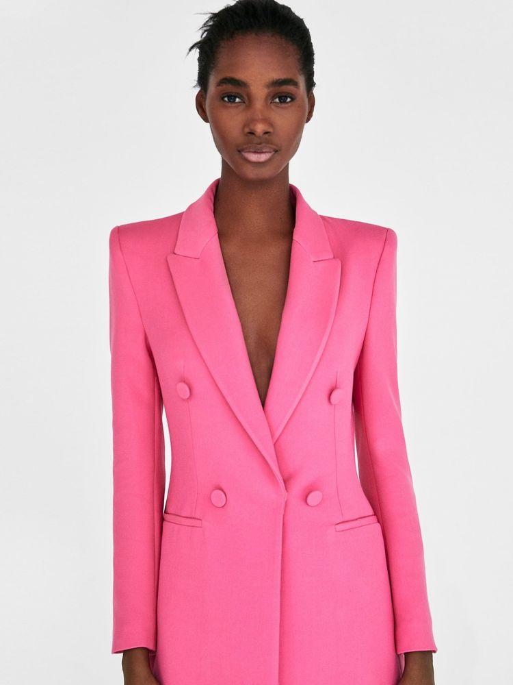 Zara Structured Pink Blazer Dress Frock Coat Size S U.K. 8