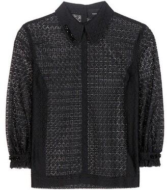 blouse embellished lace black top