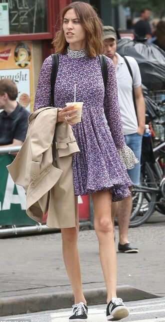 dress mini dress alexa chung floral sneakers