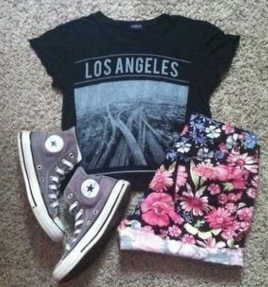 t-shirt shorts tee top flowery los angeles