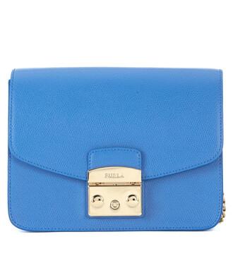 bag shoulder bag leather blue sky blue