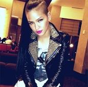 black jacket,biker jacket,spiked jacket,leather,leather jacket,studded jacket,cassie ventura,celebrity style