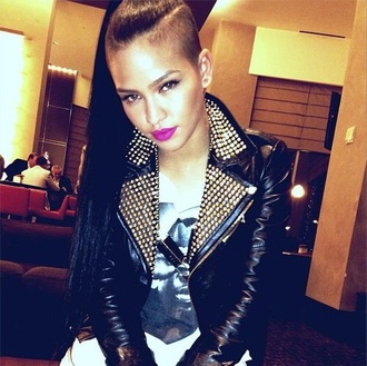 black jacket biker jacket spiked jacket leather leather jacket studded jacket cassie ventura celebrity style