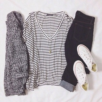 t-shirt white t-shirt striped shirt casual cardigan shirt striped t-shirt shoes converse coat jeans baggy shirt vneck top v neck black and white blouse black and white stripes sweater hipster summer summer outfits annemerel blogger