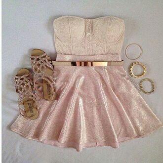 glitter dress silver shoes pink dress skater skirt dress preppy girly