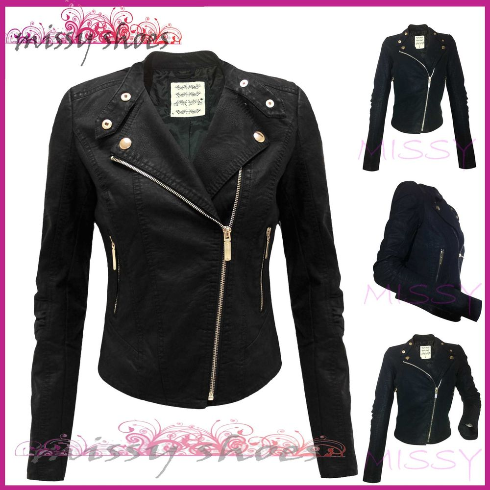 New women faux leather biker jacket crop zip coat size 4