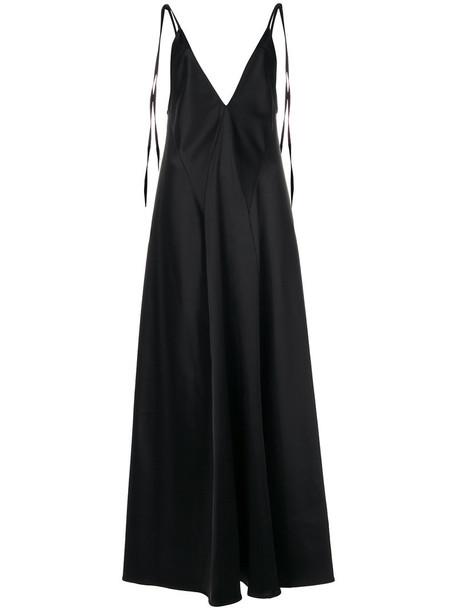 Attico dress women spandex v neck black