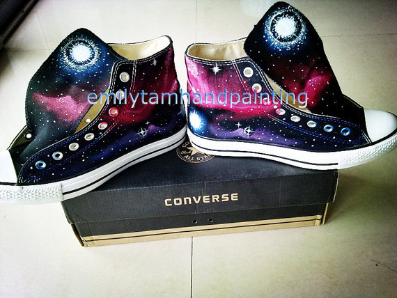 Galaxy converse sneakers custom converse by emilytamhandpainting