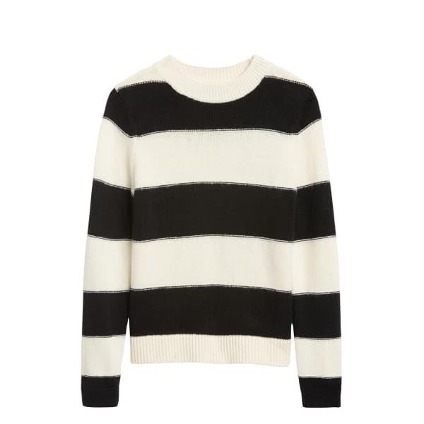 Banana Republic Women's Rugby Stripe Sweater Black & White Stripe Regular Size S
