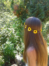 hair accessory,sunflower,sunflower headband,sunflower headpiece,flowers,flower crown,flower headband,flower headpiece,daisy,boho,bohemian,edm,rave,grunge,girl,girly,gypsy,crown,hair,hippie,hipster
