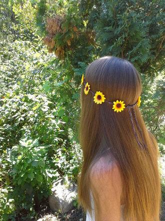hair accessory sunflower sunflower headband sunflower headpiece flowers flower crown flower headband flower headpiece flower headbands daisy boho bohemian edm rave grunge girl girly gypsy crown hair hippie hipster