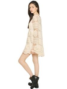 Crocheted cotton blend dress