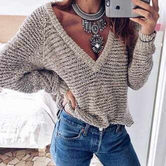 sweater tumblr v neck grey sweater statement necklace necklace silver silver necklace jeans denim blue jeans jewels jewelry silver jewelry statement