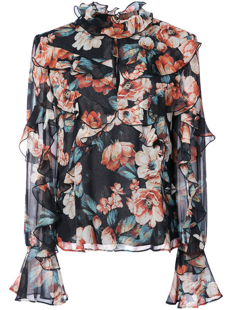 blouse women floral print black silk top