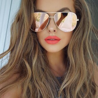 sunglasses quay mirrored sunglasses aviator sunglasses orange lipstick hairstyles