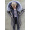 Long parka — coloured fur hood and lining — light grey