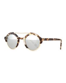 Illesteva Milan IV Round Sunglasses, White Tortoise