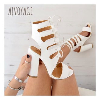 shoes white heels lace up fashion women white heels white shoes leather