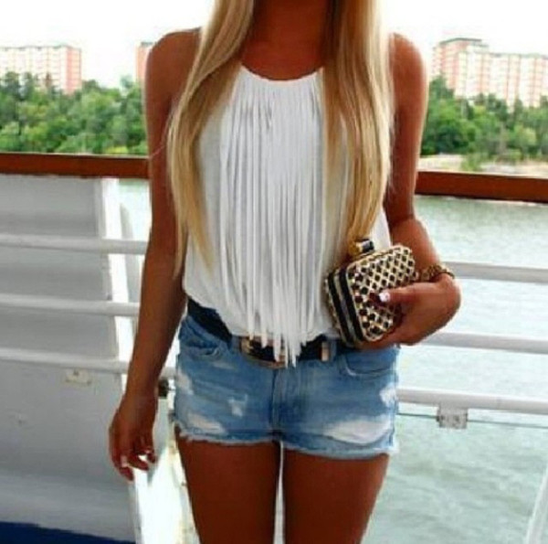 shorts blouse clutch shirt