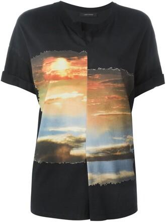 t-shirt shirt pleated print black top