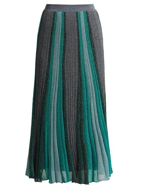 Missoni skirt midi skirt pleated midi knit green