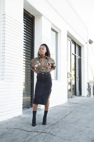 locks and trinkets blogger top skirt shoes denim skirt midi skirt high heels boots boots