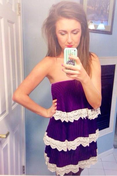dress purple dress strapless dress