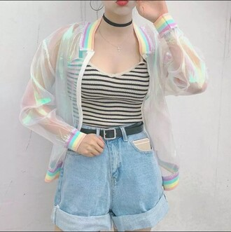 coat transparent cool festival bomber jacket transparent jacket holographic shirt pastel goth pastel grunge pastel shorts striped top
