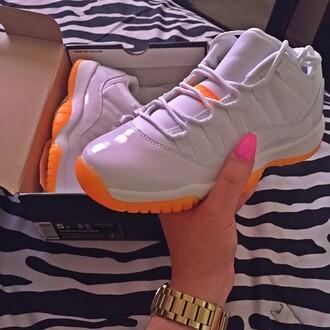 shoes jordans jordan citrus jordan 11 orange white nike