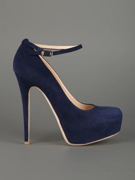 Shoes: blue heels platform shoes platform high heels nubuck
