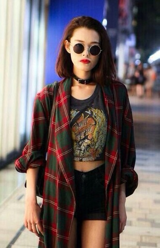 jacket round sunglasses graphic tee choker necklace black shorts shirt indie hipster sunglasses blouse coat plaid oversized plaid shirt red