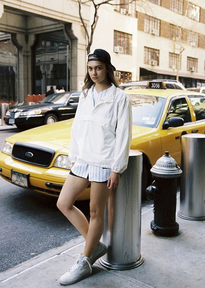 high top sneakers blogger white striped shirt sweat the style windbreaker cap