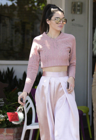 top tumblr crop tops pink top long sleeves pants pink pants wide-leg pants high waisted pants fur keychain keychain sunglasses mirrored sunglasses aviator sunglasses kendall jenner celebrity style celebrity all pink wishlist all pink everything all pink outfit model