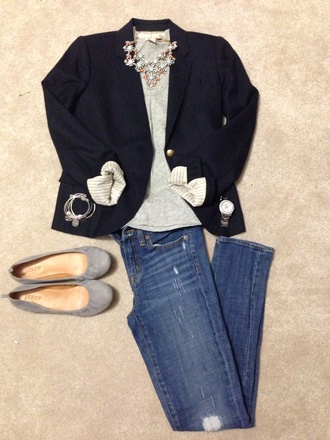 jewels navy blazer statement necklace watch charm bracelet ripped jeans destroyed skinny jeans casual dressy cute  outfits light blue pink