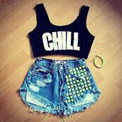 shirt,studded,studded shorts,chill,crop tops,black,urban,graphic tee,tank top,black crop top,pants,jeans,jewels,back,bag,shorts,cut off shorts,cute,sexy,swag,light blue,high waisted blue shorts,dope,supreme,urban outfitters,summer outfits,cute outfits,tumblr outfit,outfit,snapback,kush,new era,top,High waisted shorts,blue,romper