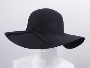 Black Lady's Soft Wool Wide Brim Cloche Fedora Floppy Hats Cap Goth Bowknot Band | eBay