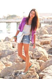 purple blazer,flats,shorts,envelope clutch,sequin bouse,coat,purple