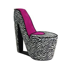 ORE International, High Heel Pink Zebra Prints Storage Chair, HB4258R at The Home Depot - Mobile