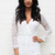 Long Sleeve Wrap Top Lace Playsuit in White