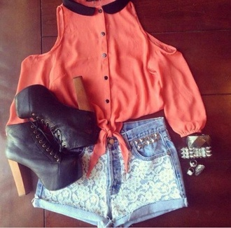 shirt pink girly fashion blouse classy shorts shoes black leather