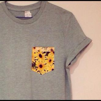 t-shirt pocket pattern top pocket t-shirt grey pocket pattern yellow pattern grey t shirt yellow flower sunflower pocket shirt