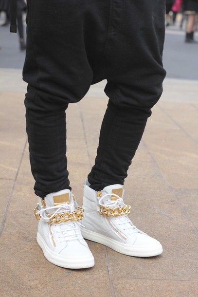 Shoes High Tops White Amp Gold Gold Chain Gold Tongue